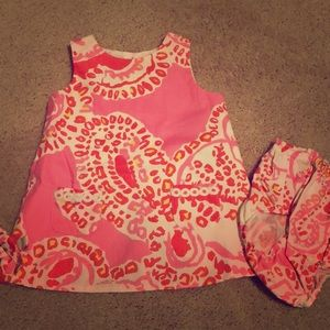 Lily Pulitzer hot pink baby dress with bottoms